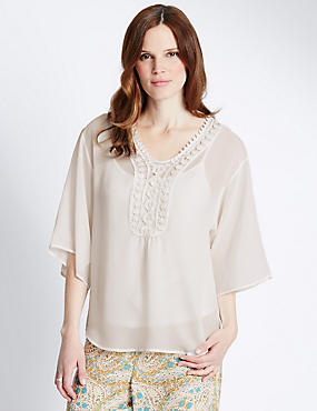 3/4 Sleeve Embroidered Blouse with Camisole