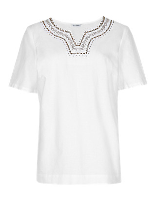 Linen Blend Embroidered Neckline Blouse Clothing