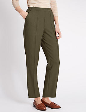 Pull On Textured Tapered Leg Trousers