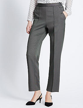 Pull On Textured Straight Leg Trousers