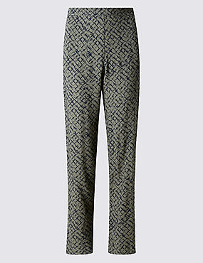 Abstract Print Straight Leg Trousers