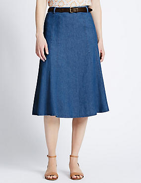 Tailored Fit Belted A-Line Denim Skirt