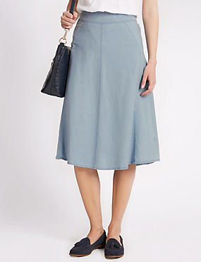 Pure Cotton Panelled A-Line Skirt