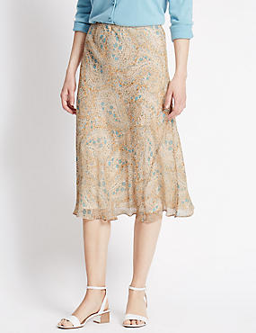 Paisley Print Georgette A-Line Skirt