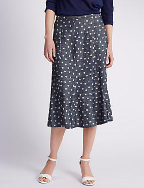 Spotted Jacquard Denim A-Line Skirt with Linen
