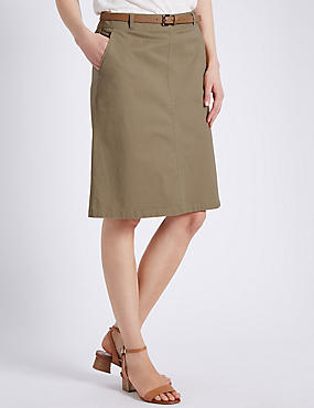 Cotton Rich A-Line Chino Skirt with Belt