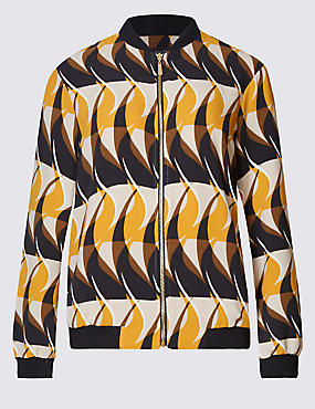 Wave Print Bomber Jacket
