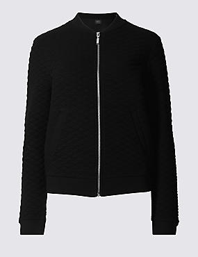 Cotton Blend Quilted Jersey Bomber Jacket