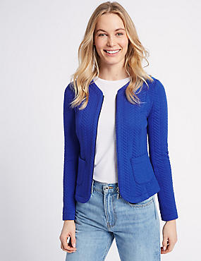 Textured Bomber Jacket, BLUE, catlanding
