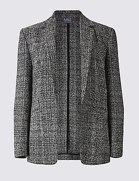 Open Front Check Textured Jacket