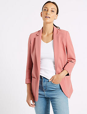 Single Breasted Patch Pocket Blazer , DUSKY PINK, catlanding