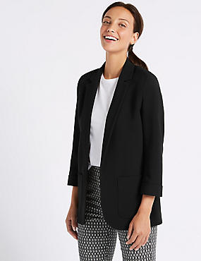 Single Breasted Patch Pocket Blazer , BLACK, catlanding