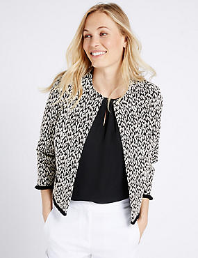 Cotton Blend Animal Jacquard Print Jacket