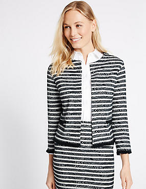 Striped Geometric Fringe Detail Jacket