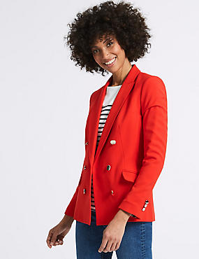 Double Breasted Gold Button Jacket, RED, catlanding
