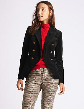 Velvet Gold Button Double Breasted Jacket