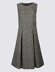 Textured Trophy A-Line Midi Dress