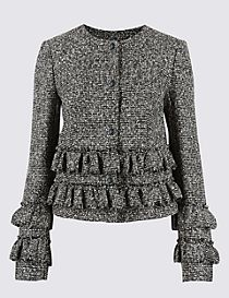 Frill Tweed Textured Jacket