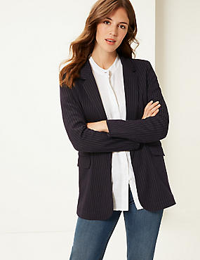 Striped Jersey Blazer , NAVY MIX, catlanding