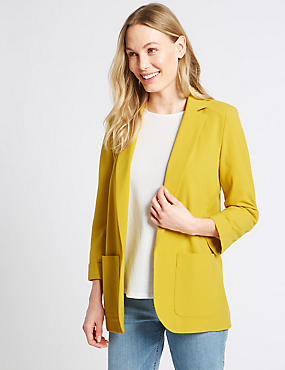 Patch Pocket Blazer, OCHRE, catlanding