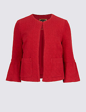 Cotton Rich Frill Sleeve Jacket
