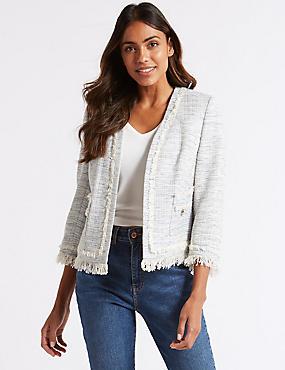 Cotton Blend Textured Open Front Blazer , LIGHT BLUE, catlanding