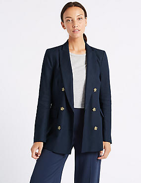 Linen Blend Double Breasted Blazer  , NAVY, catlanding