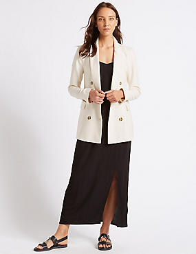 Linen Blend Double Breasted Blazer  , CREAM, catlanding