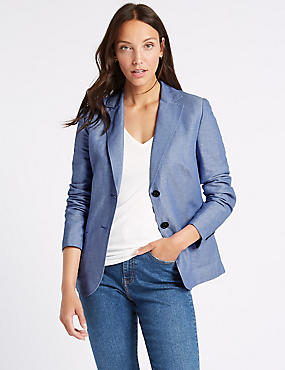 Linen Rich Single Breasted Blazer , BLUE, catlanding