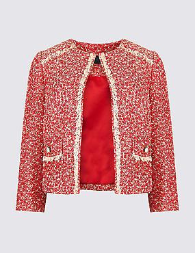 Printed Open Front Blazer , RED, catlanding