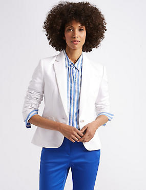 Linen Blend Single Breasted Blazer , IVORY, catlanding