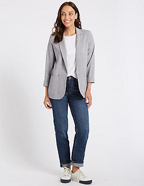 Textured Patch Pocket Blazer, SILVER GREY, catlanding