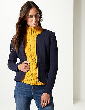 Textured Jersey Blazer , NAVY, catlanding