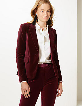 Cotton Rich Velvet Blazer, BERRY, catlanding