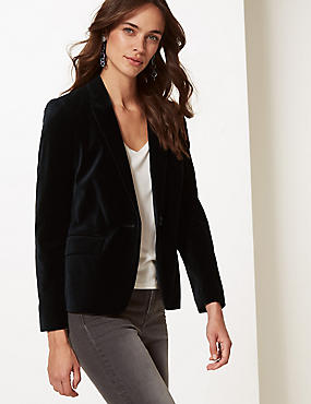 Cotton Rich Velvet Blazer, BLACK, catlanding