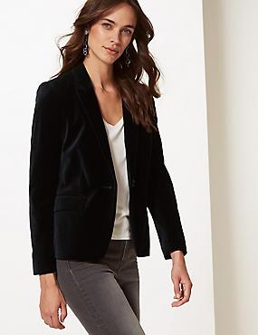 Cotton Rich Velvet Blazer, BLACK, catlanding