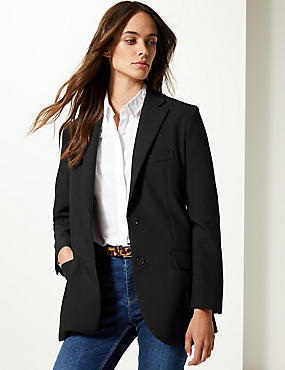 Oversized Single Breasted Blazer , BLACK, catlanding