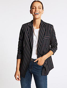 Striped Double Breasted Blazer, NAVY MIX, catlanding