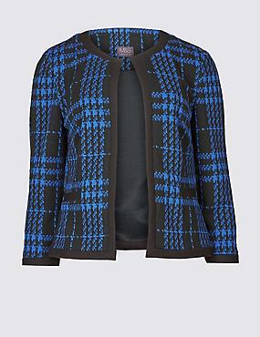 Checked 3/4 Sleeve Blazer, BLUE, catlanding