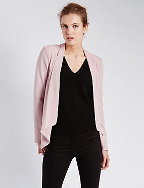 Open Front Zipped Sleeve Waterfall Jacket