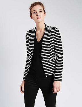 Notch Front Striped Jersey Jacket