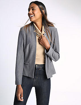 Tailored Fit Pinstriped Jersey Jacket