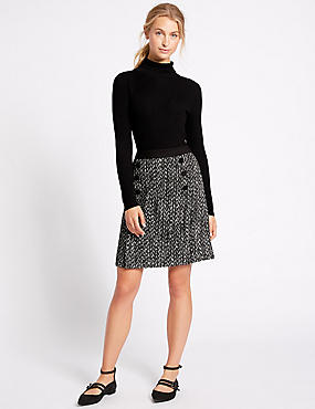 Textured A-Line Mini Skirt