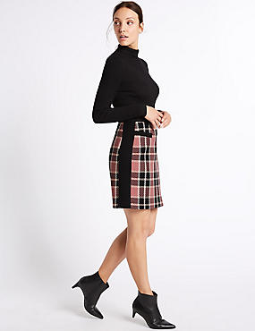 Cotton Rich Checked A-Line Mini Skirt