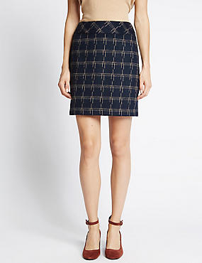 Checked Mini Skirt With Wool