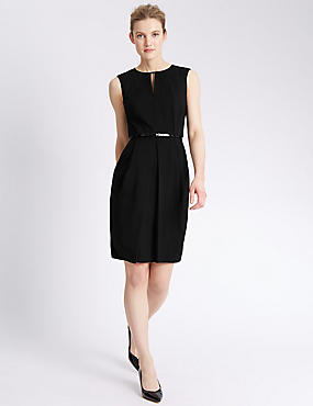 Origami Pleated Waist Shift Dress with Belt