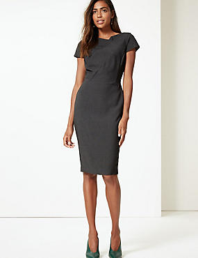 Textured Short Sleeve Bodycon Midi Dress , CHARCOAL, catlanding