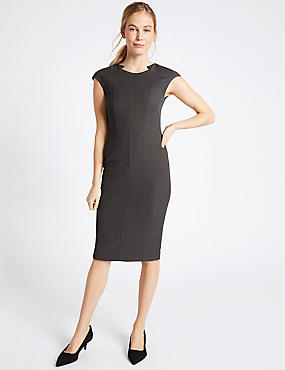 Stitch Detail Cap Sleeve Shift Midi Dress