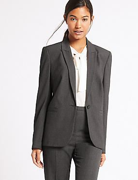 1 Button Jacket , CHARCOAL, catlanding