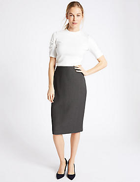 Textured Pencil Midi Skirt